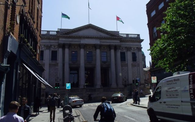 The Palestinian flag flies over Dublin's City Hall on May 9, 2017 following a vote by the city council. (Michael Riordan/Times of Israel)