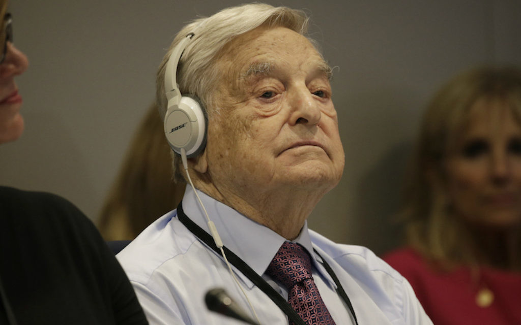 George Soros at the United Nations General Assembly in New York, September 20, 2016. (Peter Foley/Pool/Getty Images/via JTA)