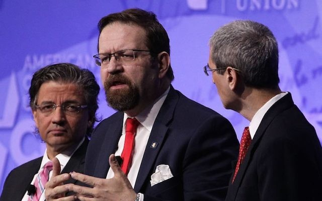 Sebastian Gorka, center, at the Conservative Political Action Conference in National Harbor, Md., Feb. 24, 2017. (Alex Wong/Getty Images)