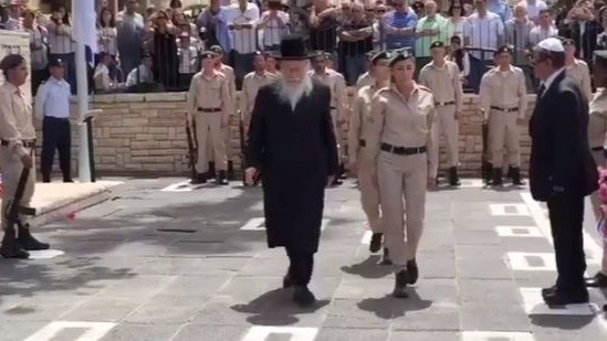 Health Minister Yaakov Litzman at a Memorial Day ceremony, May 1, 2017. (Twitter screen capture)