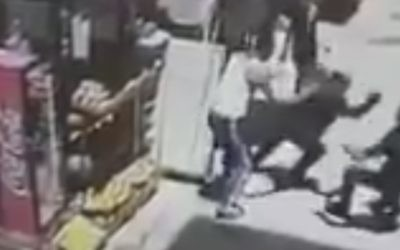 Security camera footage released by police shows the moments in which a Jordanian citizen stabbed an Israeli policeman in Jerusalem's Old City, May 13 2017 (Courtesy)
