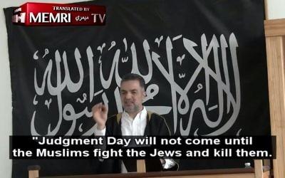 Denmark Imam Mundhir Abdallah calls for murder of Jews, March 31, 2017. (Screen capture: MEMRI)