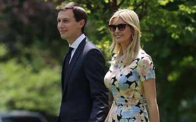 Jared Kushner and Ivanka Trump on the South Lawn prior to their departure from the White House, May 19, 2017. (Alex Wong/Getty Images, via JTA)