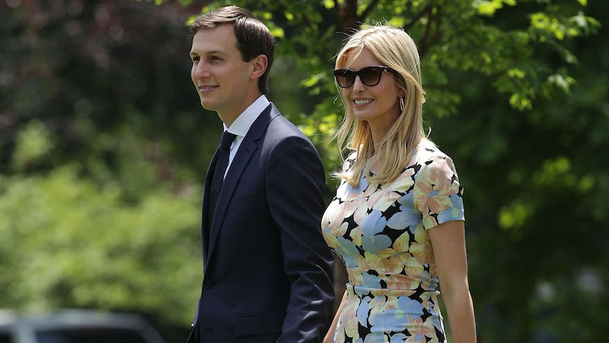 Jared Kushner and Ivanka Trump on the South Lawn prior to their departure from the White House