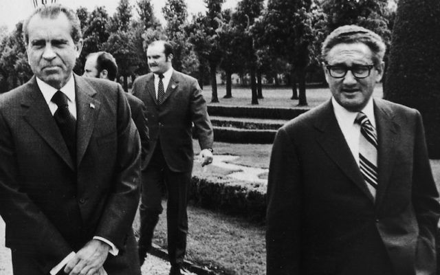 President Richard Nixon, left, with Secretary of State Henry Kissinger during Vietnam War peace talks in Paris in 1972. (Keystone/Getty Images)