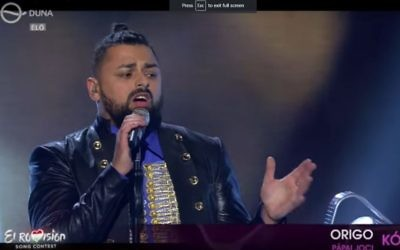 Joci Pápai from Hungary singing his country's entry to the Eurovision song contest (Screen capture YouTube)