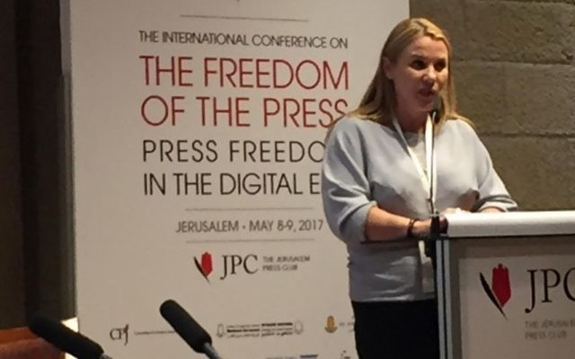 Ksenia Svetlova speaks at a Jerusalem conference on the Freedom of the Press, May 8, 2017 (Times of Israel staff)