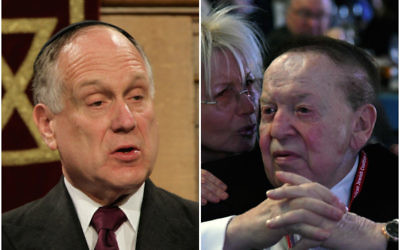 Ronald Lauder, left, and Sheldon Adelson support different methods of pursuing peace for Israel. (Getty Images)
