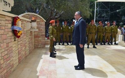 Defense Minister Avigdor Liberman seen at a Memorial Day ceremony at the Kiryat Shaul Military Cemetery in Tel Aviv on May 1, 2017. (Ariel Harmoni/Defense Ministry)