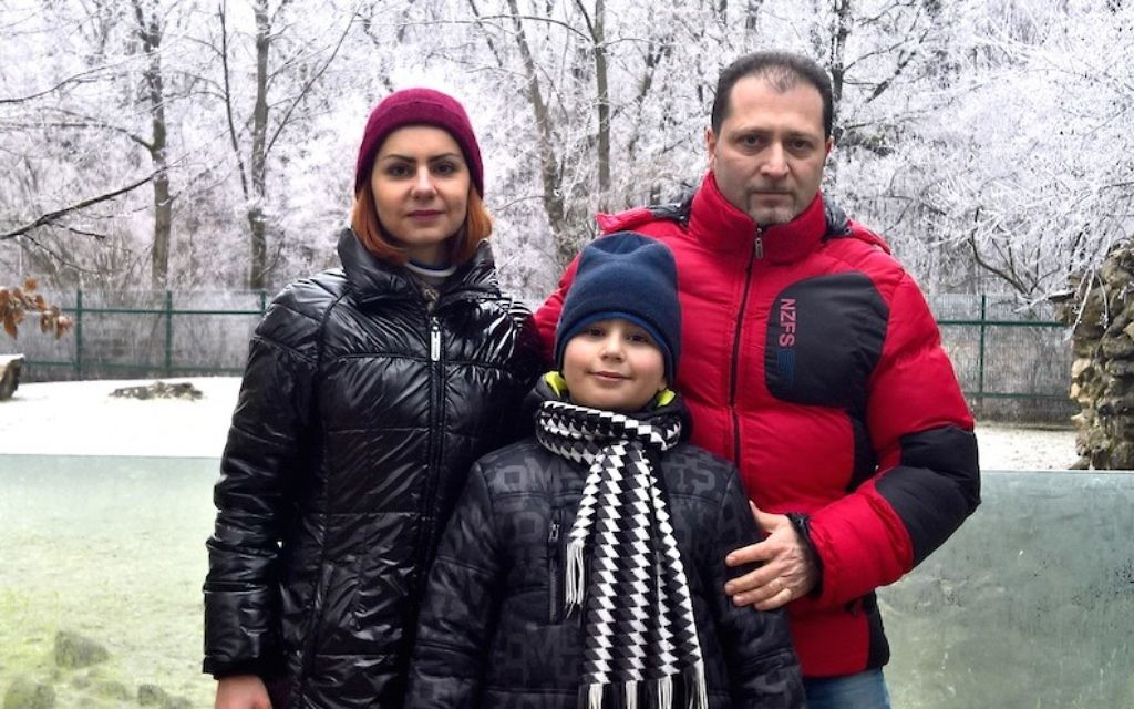 Dan Sofer, his wife and son in Vilnius, Lithuania, December 2016. (Dan Sofer, courtesy)