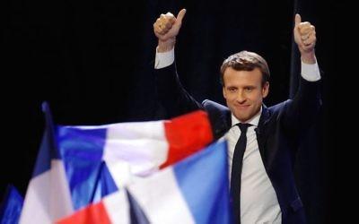 Emmanuel Macron speaking at the Porte de Versailles center in Paris, France, after advancing to the next round of France's presidential election, April 23, 2017.(Sylvain Lefevre/Getty Images)