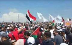 Palestinians march in the Western Galilee to mark the 'Nakba' ('catastrophe'), the day when the State of Israel was created in 1948. The annual event coincides with Israel's Independence Day. May 2, 2017. (YouTube screenshot)