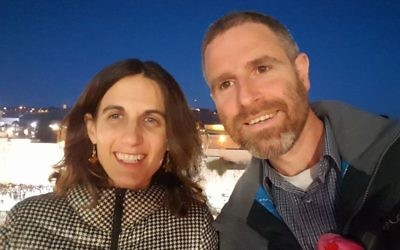 Natan Meir, the widower of terror victim Dafna Meir, announces his engagement to Zohar Morgenstern in Jerusalem on March 28, 2017.  (Facebook)