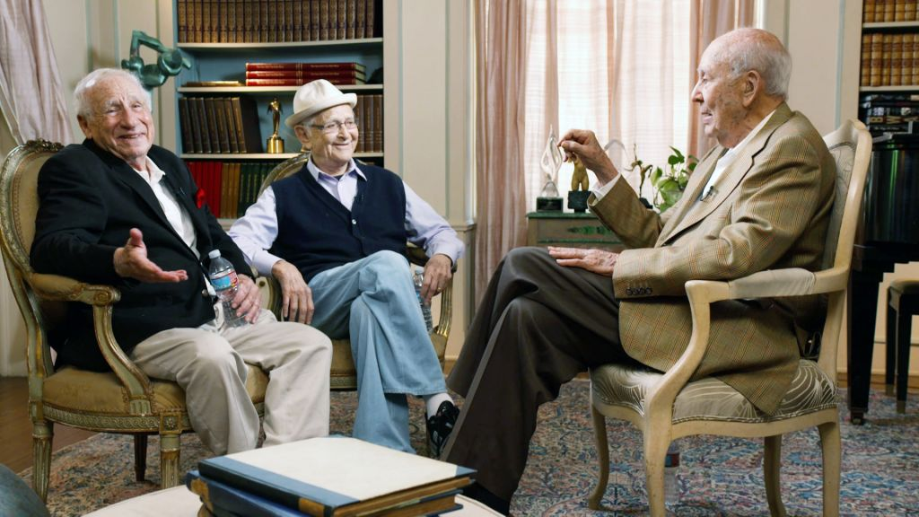 Mel Brooks, left, and Norman Lear, center, with Carl Reiner in 'If You're Not in the Obit, Eat Breakfast.' (Courtesy of HBO/via JTA)