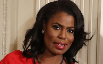 White House staff member Omarosa Manigault attends a US President Donald Trump news conference  on February 16, 2017 in Washington, DC.   (Photo by Mark Wilson/Getty Images via JTA)