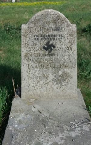 "A gravestone daubed with a swastika and the words ""tolerance is weakness"" at the Cherkasy Jewish cemetery, Ukraine, May 5, 2017. (Courtesy)"