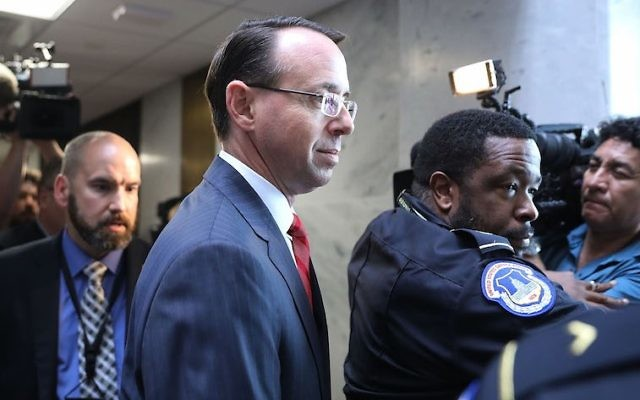 Deputy Attorney General Rod Rosenstein leaving the Hart Senate Office Building in Washington DC on May 11, 2017. (Chip Somodevilla/Getty Images)