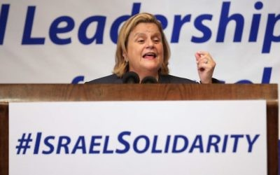 Ileana Ros-Lehtinen speaking at the National Leadership Assembly for Israel at the National Press Club in Washington, D.C. on July 28, 2014. (Chip Somodevilla/Getty Images/JTA)