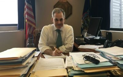 Eric Schneiderman in his New York office, April 3, 2017. (Ron Kampeas/JTA)