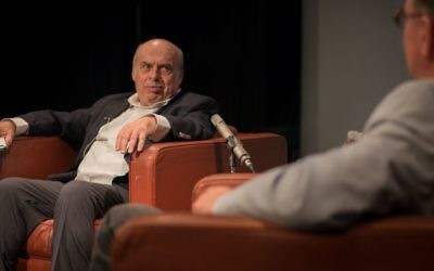 Natan Sharansky speaks with Matthew Kalman at a Times of Israel event in Jerusalem, May 7, 2017. (Luke Tress/Times of Israel)