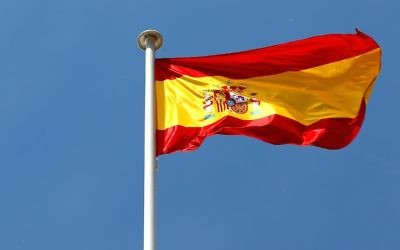 The Spanish national flag flies above the circuit ahead of the Spanish F1 Grand Prix at Circuit de Catalunya on May 8, 2014 in Montmelo, Spain.  (Photo by Paul Gilham/Getty Images via JTA)