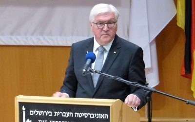 German President Frank Walter Steinmeier speaking in Jerusalem