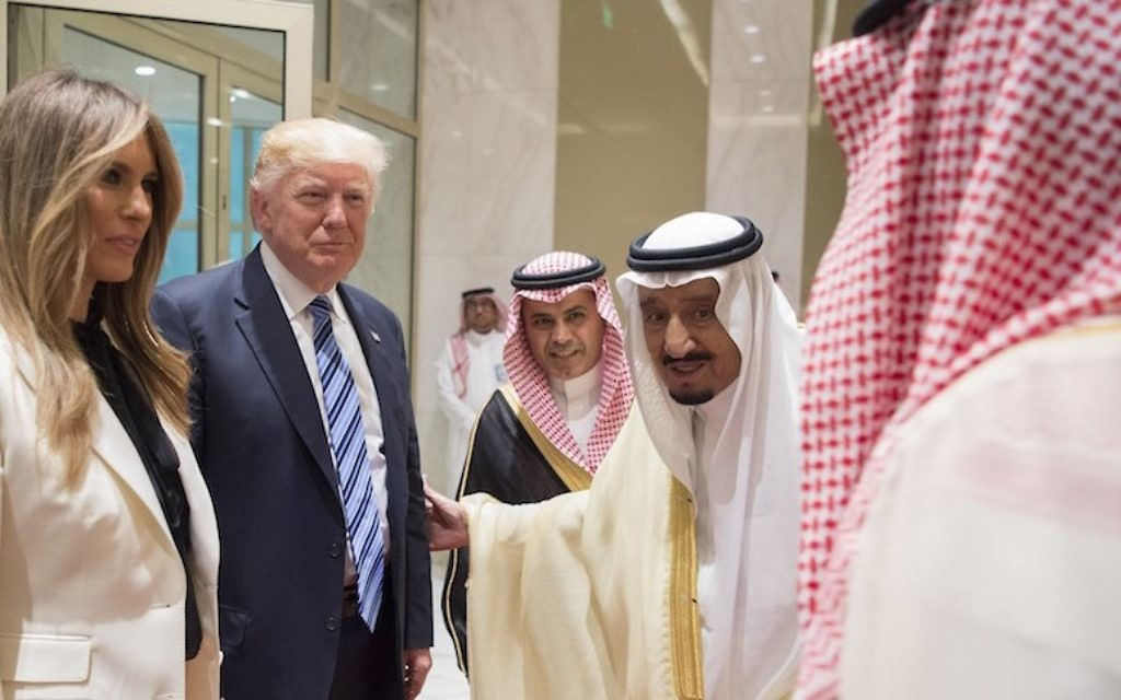 President Donald Trump and first lady Melania Trump with Saudi Arabia's King Salman bin Abdulaziz al-Saud, second from right, at the inauguration ceremony of the Global Center for Combating Extremist Ideology in Riyadh, Saudi Arabia, May 21, 2017. (Bandar Algaloud/Saudi Royal Council/Anadolu Agency/Getty Images)