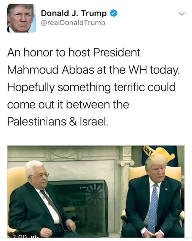 An image of a tweet posted by US President Donald Trump on May 3, 2017. (Screen capture: Twitter)