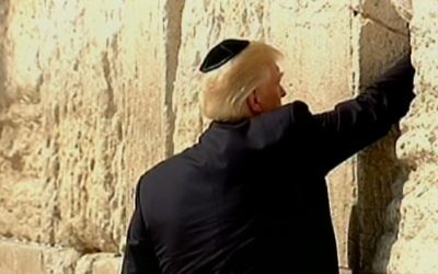 Donald Trump placing a note in the Western Wall in the Old City of Jerusalem on May 22, 2017. (screen capture: Channel 2)