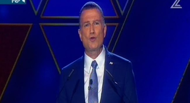 Knesset Speaker Yuli Edelstein speaks at the Independence Day ceremony at Mount Herzl on May 1, 2017 (screen capture: Channel 2)
