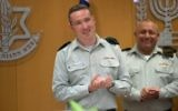 IDF Spokesperson Brig. Gen. Ronen Manelis enters his new position during a ceremony at the army's Tel Aviv headquarters on May 18, 2017. (IDF Spokesperson's Unit)