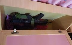 An M-16 assault rifle hidden in a child's bed that was allegedly used to carry out shooting attacks on Israeli civilians and soldiers in the West Bank in April 2017. (IDF Spokesperson's Unit)