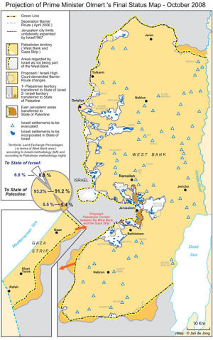 A projection of the land for peace offer made by former Prime Minister Ehud Olmert to Palestinian Authority President Mahmoud Abbas in 2008. (Foundation for Middle East Peace)