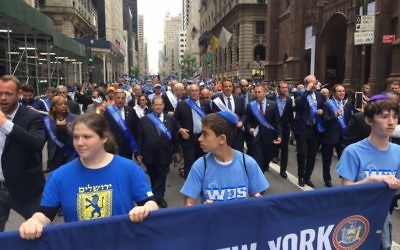Thousands of marchers take part in the 'Celebrate Israel' parade in New York on June 4, 2017. (Courtesy)