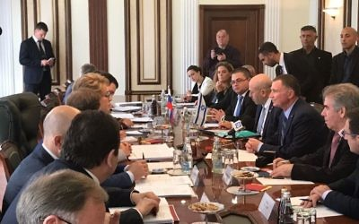 Knesset Speaker Yuli Edelstein holds a working meeting with his Russian counterparts in Moscow on June 27, 2017 (Knesset spokesperson's office/Israeli embassy in Moscow)