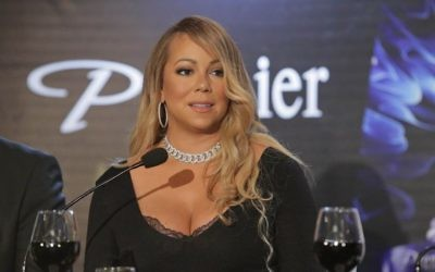 Mariah Carey at a press conference in Tel Aviv, on June 26, 2017, as the new brand ambassador for Premier cosmetics. (courtesy/Shuka Cohen)