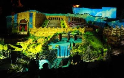 A screenshot from the new 'Hallelujah' nighttime attraction at the City of David in Jerusalem. (courtesy AVS)