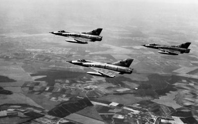 This file photo taken on June 5, 1967 shows Israeli airforce Dassault Mirage III fighters flying over the Sinai Peninsula at the Israeli-Egyptian border on the first day of the Six Day War. (AFP)