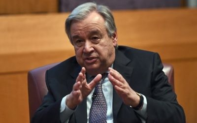 United Nations Secretary-General Antonio Guterres speaks on climate change at the New York University Stern School of Business, in New York on May 30, 2017. (AFP/Jewel Samad)
