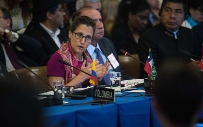 Canadian Foreign Minister Chrystia Freeland addresses an OAS foreign ministers meeting on Venezuelaa in Washington, DC, May 31, 2017. (AFP/NICHOLAS KAMM)