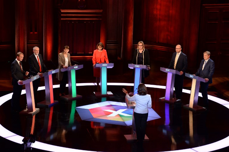 (L-R) Liberal Democrats leader Tim Farron, Labour leader Jeremy Corbyn, Green Party co-leader Caroline Lucas, Plaid Cymru leader Leanne Wood, Home Secretary Amber Rudd, UKIP leader Paul Nuttall and SNP deputy leader Angus Robertson take part in the BBC Election Debate, May 31, 2017. (AFP Photo/Pool/Stefan Rousseau)