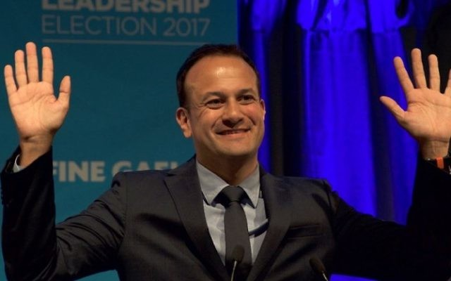 Fine Gael TD for Dublin West and Minister for Social Protection, Leo Varadkar celebrates victory, after winning the party leadership election, at the National Count Centre in Mansion House, Dublin on June 2, 2017. (Paulo Nunes dos Santos/AFP)