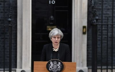 Britain's Prime Minister Theresa May delivers a statement outside 10 Downing Street in central London on June 4, 2017, following the June 3 terror attack. (AFP PHOTO / Justin TALLIS)