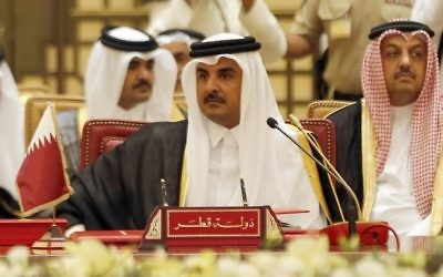 This file photo taken on December 6, 2016, shows Qatari Emir Sheikh Tamim bin Hamad al-Thani at a Gulf Cooperation Council summit in the Bahraini capital Manama. (AFP Photo/Stringer)