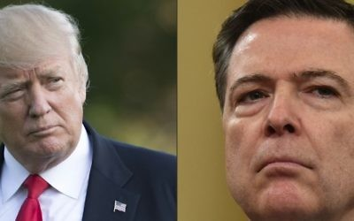 This combination of pictures shows US President Donald Trump on the South Lawn of the White House in Washington, DC, April 28, 2017; and FBI Director James Comey on Capitol Hill in Washington, DC, on March 20, 2017. (SAUL LOEB, Nicholas Kamm/AFP)