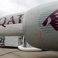This photo taken on June 15, 2015, shows a Qatar Airways A350 900 on the tarmac during the International Paris Airshow at Le Bourget on June 15, 2015.  (AFP Photo/Eric Piermont)