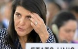 US Ambassador to the United Nations Nikki Haley gestures prior to address a session of United Nations Human Rights Council on June 6, 2017 in Geneva. (AFP PHOTO / Fabrice COFFRINI)