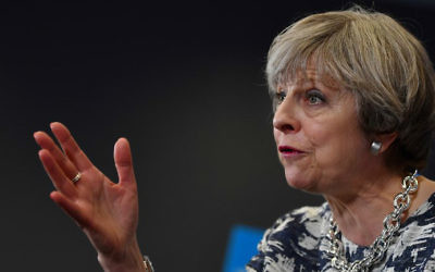 Britain's Prime Minister and leader of the Conservative Party Theresa May speaks at a campaign event in Norwich, east England, on June 7, 2017, on the eve of the general election. (Ben Stansall/AFP)