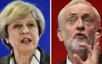 (FILES) A combination of pictures created in London on April 18, 2017 shows British Prime Minister and Conservative Party leader Theresa May (L) speaking at a press conference during a European Summit at the EU headquarters in Brussels on March 9, 2017 and Britain's main opposition Labour Party leader Jeremy Corbyn (R) speaking on the fourth day of the annual Labour Party conference in Liverpool, north west England on September 28, 2016. (John Thys and Paul Ellis/AFP)