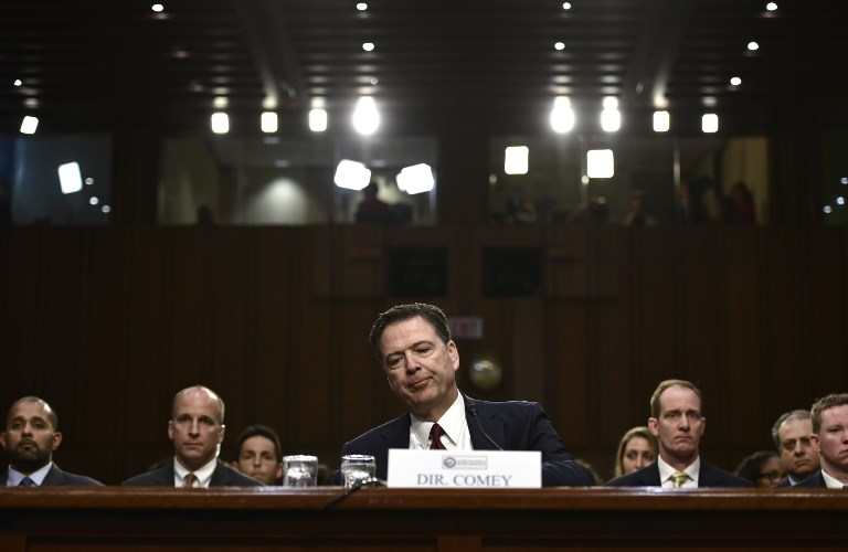 Former FBI director James Comey testifies during a US Senate Select Committee on Intelligence hearing on Capitol Hill in Washington, DC, June 8, 2017. (AFP/Brendan Smialowski)